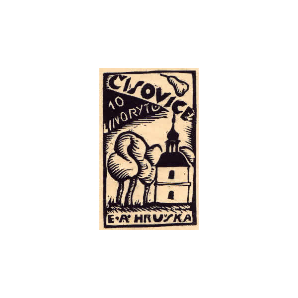 Front page of the linocut cyklus  'Cislovice'